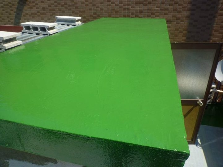 屋上 ウレタン材塗布(上塗り)完了