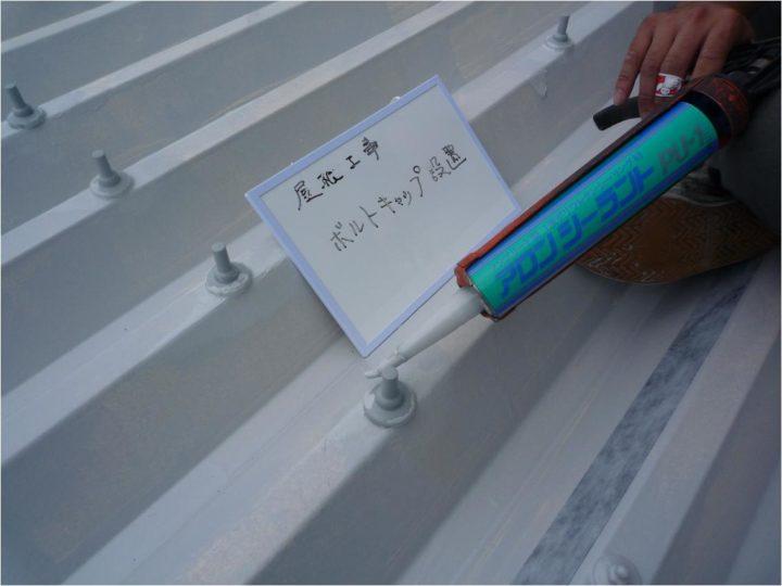 屋根塗装工事 ボルトキャップ設置