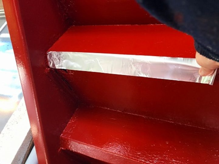 鉄骨階段 アルミテープ補修