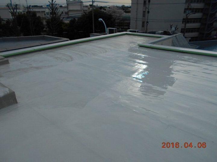 屋上防水 中塗り完了
