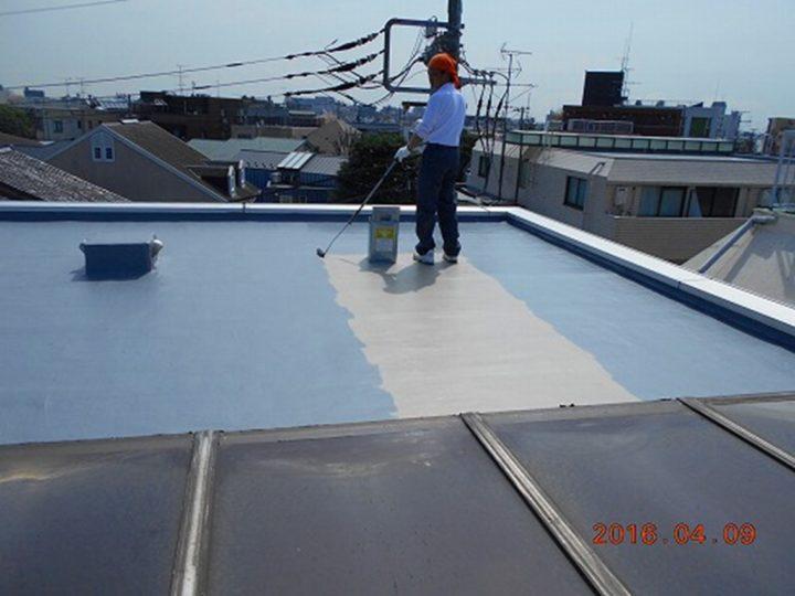 屋上防水 トップコート(上塗り)塗布