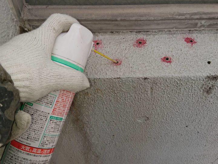 下地補修工事(ボンドピンキング工法)穴開け部清掃