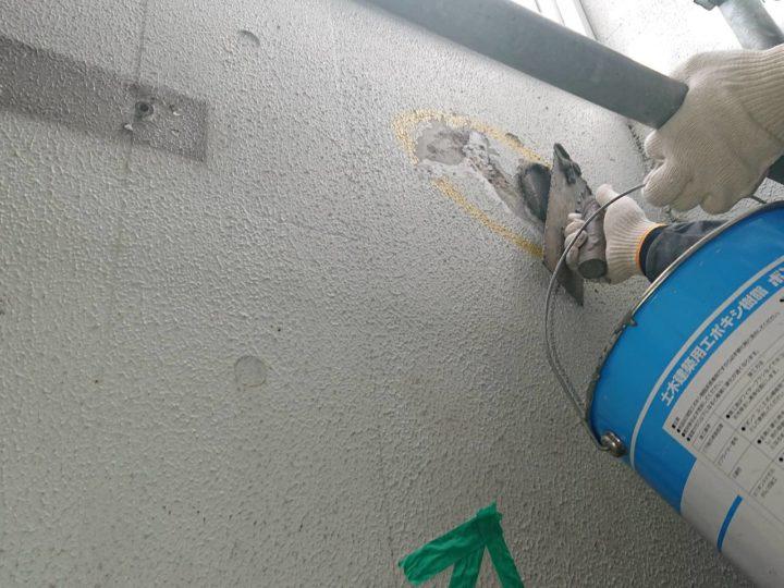 下地補修工事 内階段1~2階 外壁爆裂補修