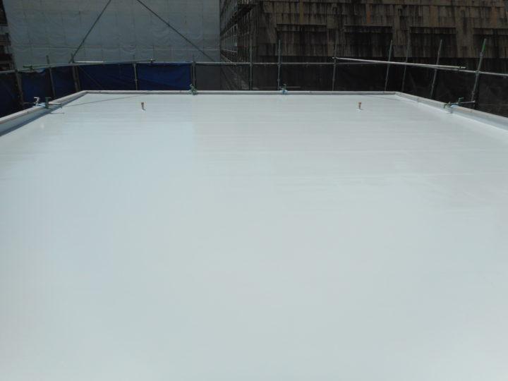 屋上防水 トップコート塗布④