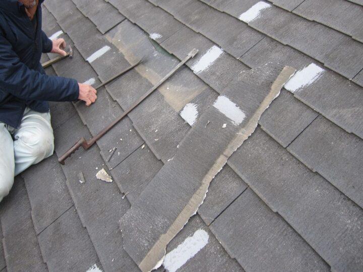 工種:スレート屋根板交換 既存スレート板撤去